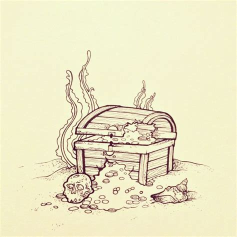 Sunken Treasure Chest Drawings