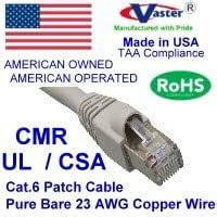 Super E cable SKU-81972 - Made in USA – GRAY – 60 FT - UTP Cat.6 Ethernet Patch Cable - UL CMR 23AWG