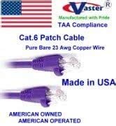 Super E cable SKU-81975 - Made in USA – PURPLE – 90 FT - UTP Cat.6 Ethernet Patch Cable - UL CMR 23AWG