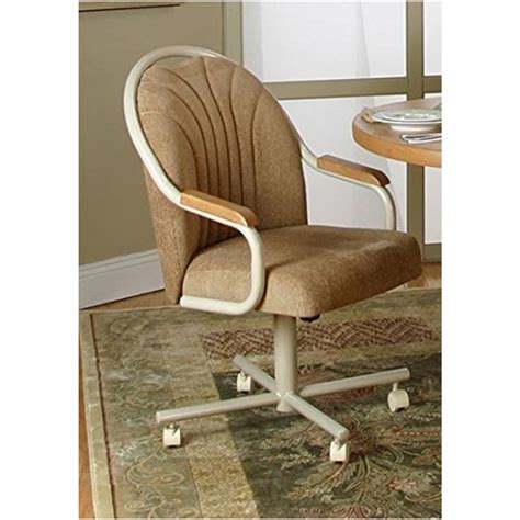 Swivel-And-Tilt Rolling-Caster Dining Chair Leather 19 Inches High