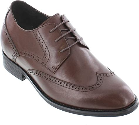 T22010-3 inches Taller - Height Increasing Elevator Shoes - Dark Brown Leather Lace-up Dress Shoes