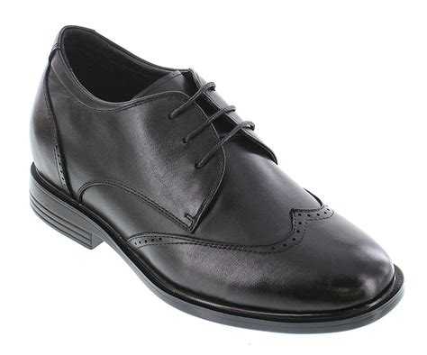 T51033-3 inches Taller - Height Increasing Elevator Shoes - Black Leather Lace-up Dress Shoes