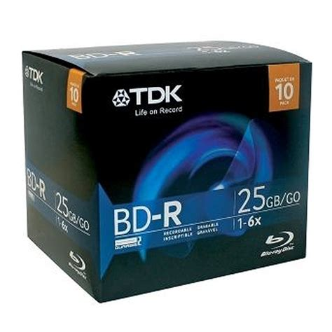 TDK Blu-ray BD-R Disc 10 Pack - BD-R 25GB 6X - Super Hard Coating Surface