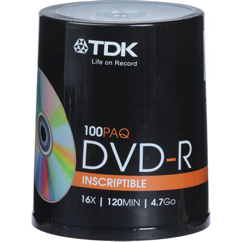 TDK DVD-R 4.7Gb 16x Spindle 100 tdk dvdr 100 pack dvd data dvd recordable
