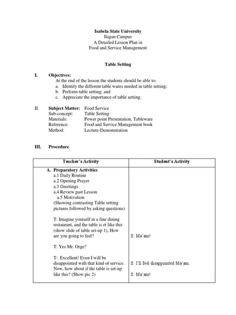 Table-Setting-Lesson-Plan