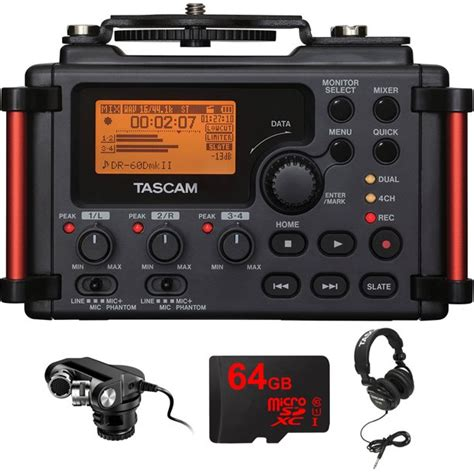 Tascam Portable Recorder for DSLR (DR-60DMKII) with Tascam X-Y Plug-in Microphone for DSLR, 64GB MicroSDXC High-Speed Memory Card & Tascam Closed-Back Professional Headphones Black
