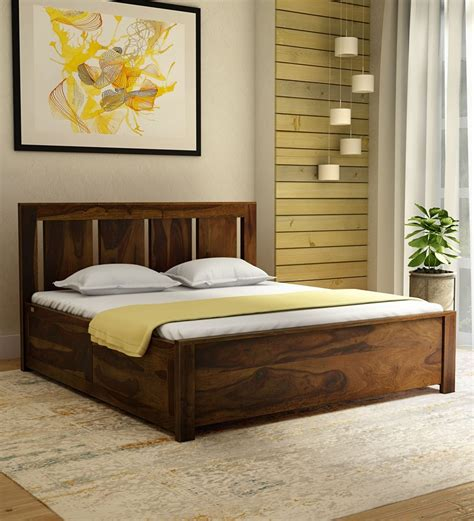 Teak Wood King Size Bed Designs With Storage
