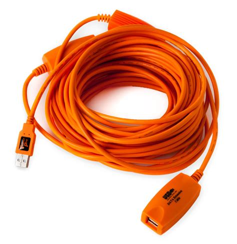 Tether Tools TetherPro USB 2.0 to USB Female Active Extension Cable, 16' (5m), High-Visibility Orange