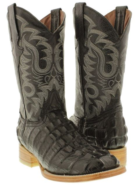 Texas Legacy - Men's Black Crocodile Back Print Leather Cowboy Boots Square Toe