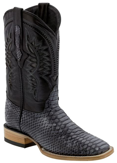 Texas Legacy - Men's Black Python Snake Print Leather Cowboy Boots Square Toe