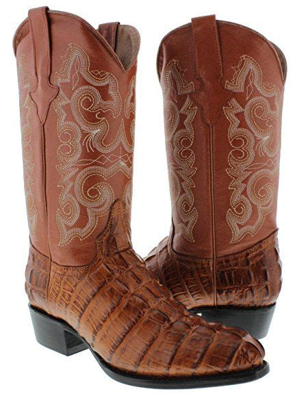 Texas Legacy - Men's Brown Crocodile Tail Print Leather Cowboy Boots Square Toe