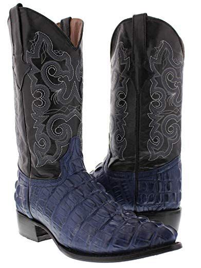 Texas Legacy - Men's Off White Crocodile Tail Print Leather Cowboy Boots J Toe