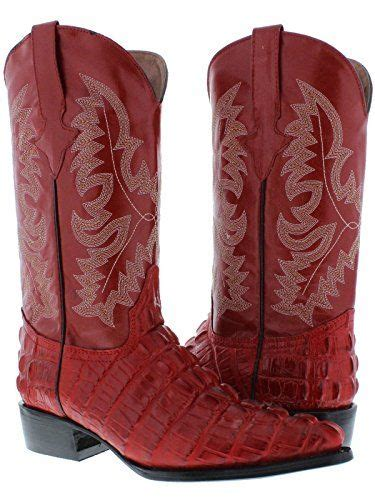 Texas Legacy - Men's Red Crocodile & Ostrich Print Leather Cowboy Boots J Toe