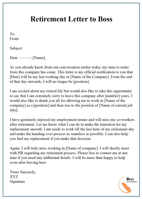 Thank You Letter To Your Boss Who Is Retiring