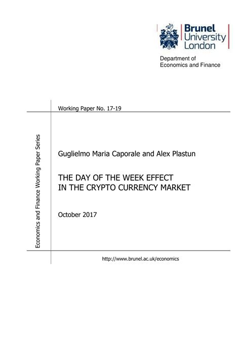 [pdf] The Day Of The Week Effect In The Crypto Currency Market.