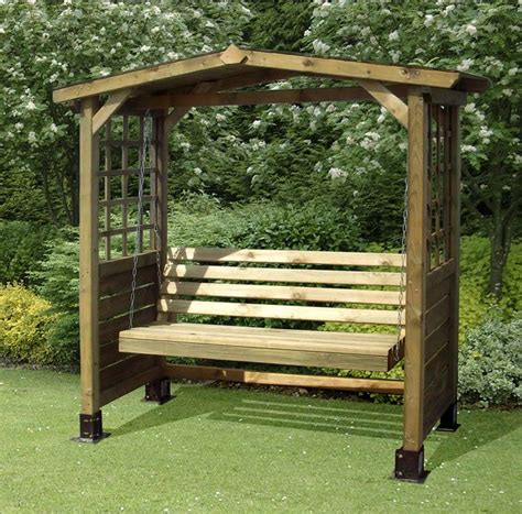 The Poseidon Wooden Swing Seat Outdoor Garden Timber Arbour Bench Seat