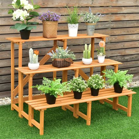 Three Tiered Wooden Plant Stands