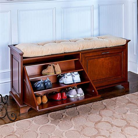 Tilt Out Shoe Storage Bench Plans
