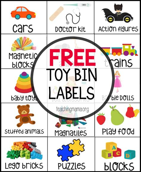 Toy Organization Label Templates