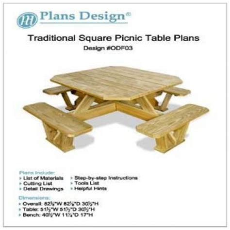 Traditional-Square-Picnic-Table-Benches-Woodworking-Plans-#odf03