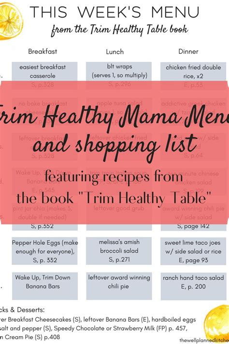 Trim-Healthy-Table-Menu-Plan