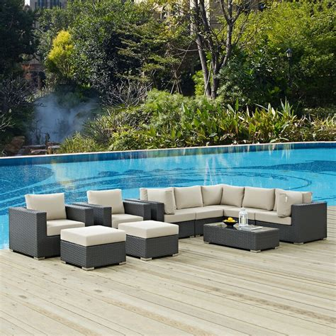 Tripp 10 Piece Sunbrella Sectional Set With Cushions