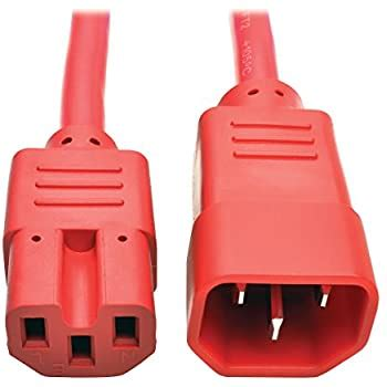 Tripp Lite 6ft Heavy Duty Computer Power Extension Cord 15A, 14 AWG, C14 to C15, Red 6'(P018-006-ARD)