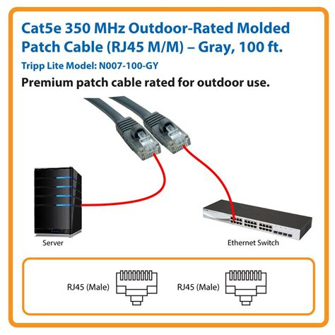 Tripp Lite Cat5e 350MHz Outdoor-Rated Patch Cable (RJ45M/M) - Gray, 100-ft.(N007-100-GY)