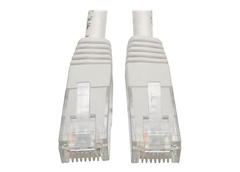 Tripp Lite Cat6 Cat5e Gigabit Molded Patch Cable 24 AWG RJ45 M/M 550MHz Premium White 20ft 20' (N200-020-WH)