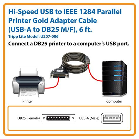 Tripp Lite Hi-Speed USB to IEEE 1284 Parallel Printer Gold Adapter Cable - parallel adapter