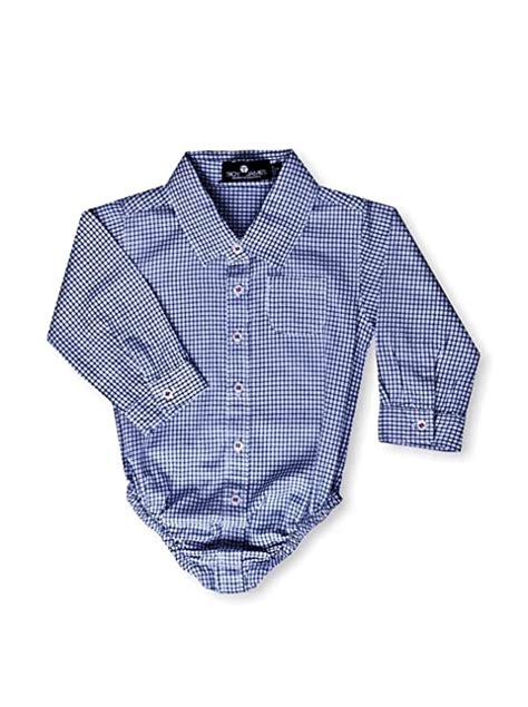Troy James Kid's Check Dress Shirt Romper, Blue/White, 0-3 Months