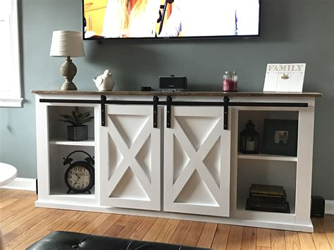 Tv Console Plans With Slider Barn Doors