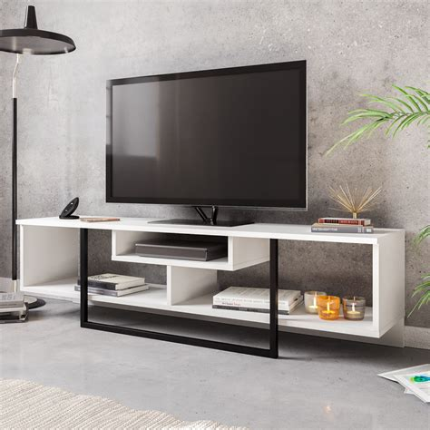 Tv Stand Wood With Metal Trim