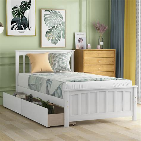 Twin-Size-Platform-Bed-With-Drawers-Plans