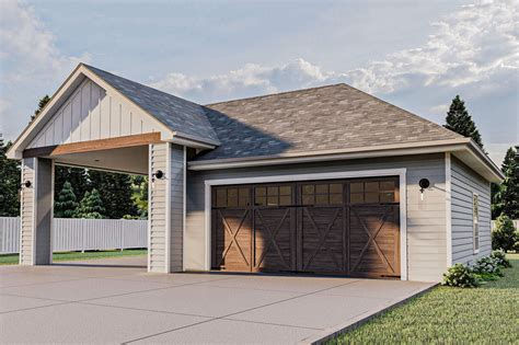 Two Car Garage With Carport Plans