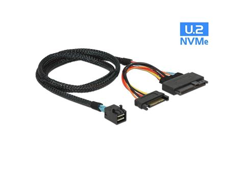 USAC Mini SAS HD SFF-8643 to SFF-8639 U.2 with SATA 15 Pin Power Connector Cable(0.5M)