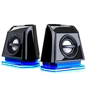 USB 2.0 Computer PC Speakers with Passive Subwoofer , Dual Drivers and Blue LED Lights by GOgroove - Works with Desktop , Laptop , PC , Notebook and more Computers
