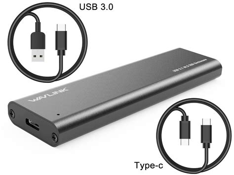 USB 3.1 Gen 2 / 10Gbps micro B to M.2 or mSATA SSD Enclosure with TYPE A to Micro B cable ( M.2 & mSATA work Alternative)