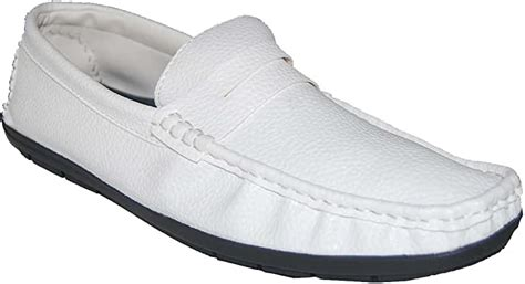 Ultra-Fine Thin Leather Look White Men Penny Loafers