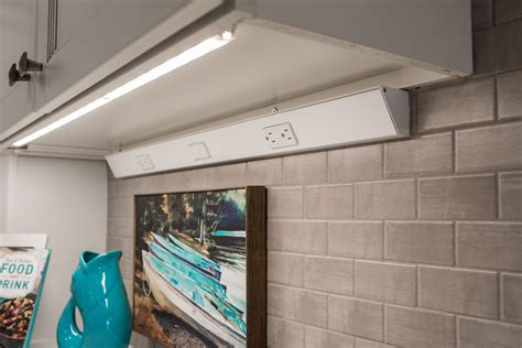 Under Counter Power Strip Angled Cabinet And Lights Low Profile Undercounter