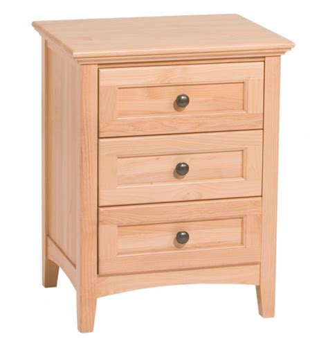 Unfinished Wood Nightstand With Drawers