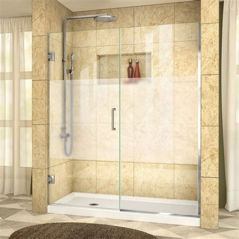 Unidoor Plus 57 X 72 Hinged Frameless Shower Door With Clearmax? Technology