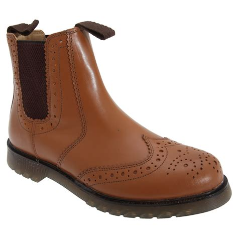 Unisex Brogue Gusset Dealer Boots