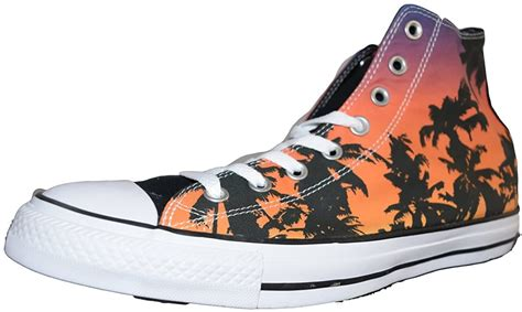 Unisex Palm Tree Print Chuck Taylor All Star Hi 155056C Fire/Black