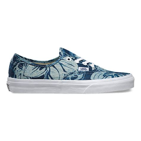 Unsiex Authentic Indigo Tropical Skate Shoes-Indigo Tropical