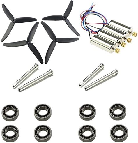 Upgrade Motors Main Three Blade Propellers Shafts Bearings for Hubsan H502E H502S Drone Replacement CCW CW with Metal Gear RC Quad Copter Spare Parts Set (Black)