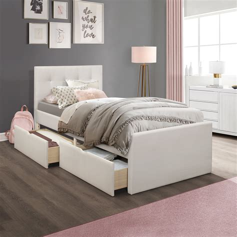 Upholstered Platform Bed With Drawers