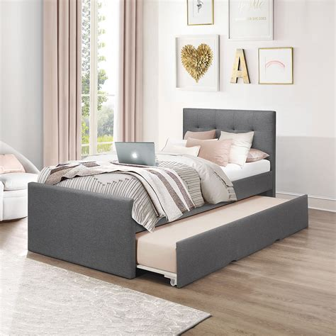 Upholstered Twin Bed With Trundle