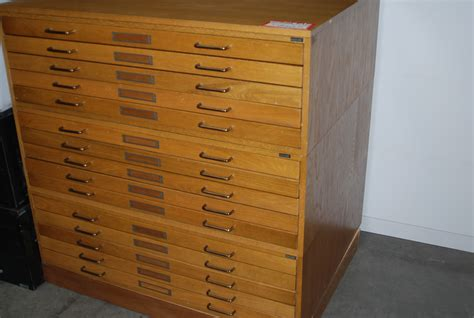 Used Wood Blueprint Flat File Cabinet