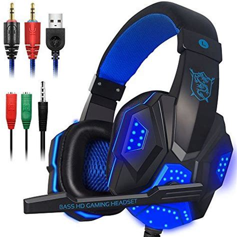Utheing Wired Gaming Headset In Ear with Adjustable Mic 3.5mm Stereo Headphones for PS4 Laptop Computer Cellphone